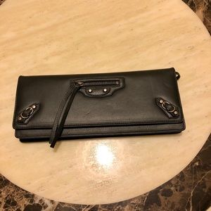 Balenciaga Calfskin Leather Clutch in Black